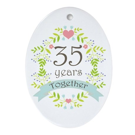 35th Anniversary flowers and heart Ornament (Oval)