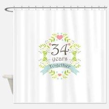 34th Anniversary flowers and hearts Shower Curtain