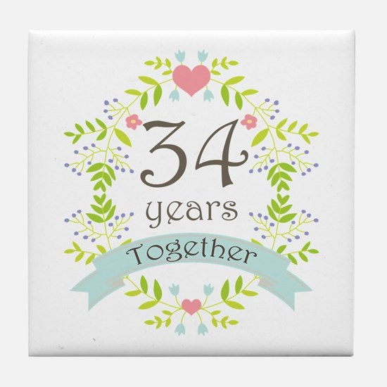 34th Anniversary flowers and hearts Tile Coaster