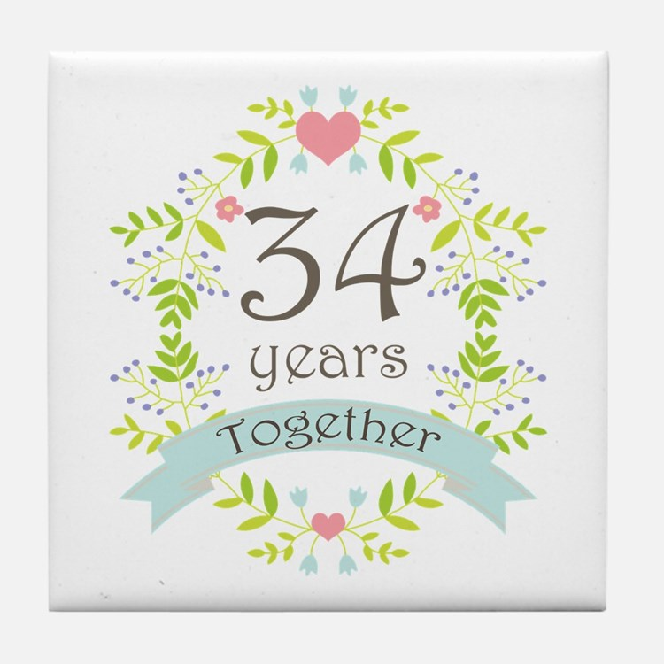 34th Wedding Anniversary 34th Wedding Anniversary Coasters