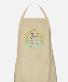 34th Anniversary flowers and hearts Apron