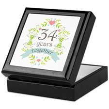 34th Anniversary flowers and hearts Keepsake Box