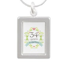 34th Anniversary flowers Silver Portrait Necklace