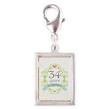 34th Anniversary flowers and Silver Portrait Charm