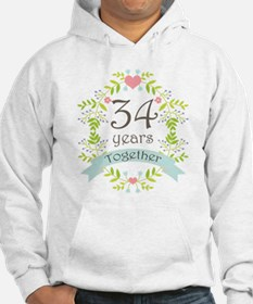 34th Anniversary flowers and hea Hoodie