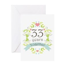 33rd Anniversary flowers and hearts Greeting Card