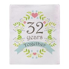 32nd Anniversary flowers and hearts Throw Blanket