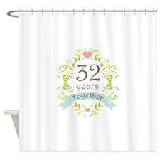 32nd Anniversary flowers and hearts Shower Curtain