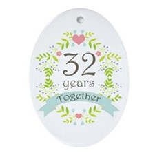 32nd Anniversary flowers and heart Ornament (Oval)