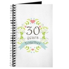 30th Anniversary flowers and hearts Journal