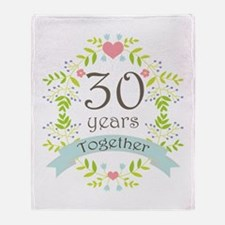 30th Anniversary flowers and hearts Throw Blanket