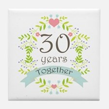 30th Anniversary flowers and hearts Tile Coaster