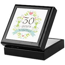 30th Anniversary flowers and hearts Keepsake Box