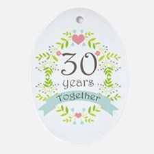 30th Anniversary flowers and heart Ornament (Oval)