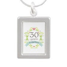 30th Anniversary flowers Silver Portrait Necklace