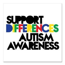 """Support Differences - Square Car Magnet 3"""" X"""