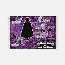 Jack the Ripper Victim Map Purple Rectangle Magnet