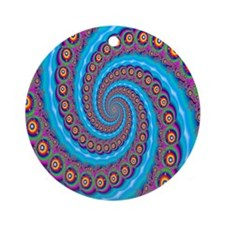 Fractal Bubble Whirlpool Ornament (Round)