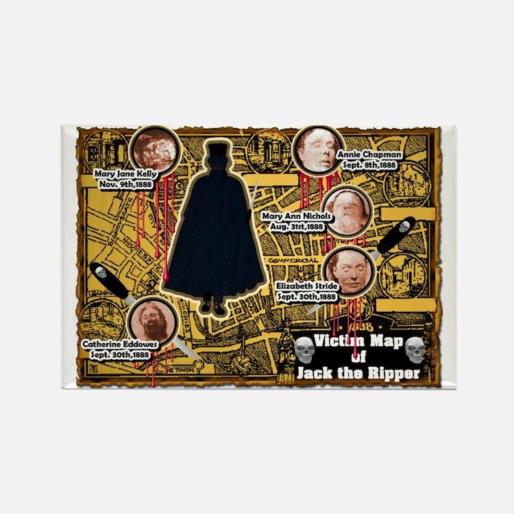 Jack the Ripper Victim Map Orange Rectangle Magnet
