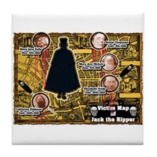 Jack the Ripper Victim Map Orange Tile Coaster