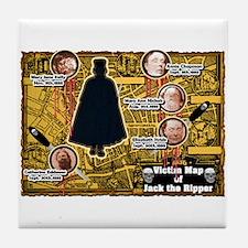 Jack the Ripper Victim Map Orange Tile Coaster