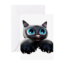Kitty Cartoon Blue Eyes 3D Greeting Cards