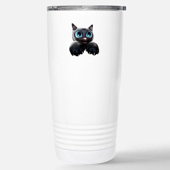 Kitty Cartoon Blue Eyes 3D Travel Mug