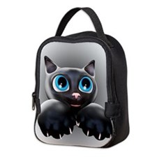 Kitty Cartoon Blue Eyes 3D Neoprene Lunch Bag