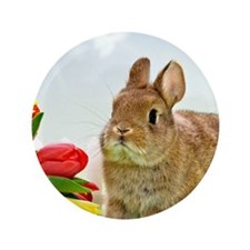 """bunny and flowers 3.5"""" Button"""