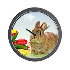 bunny and flowers Wall Clock