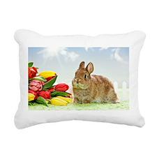 bunny and flowers Rectangular Canvas Pillow