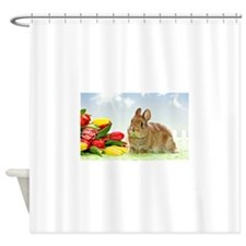 bunny and flowers Shower Curtain