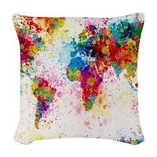World Map Paint Splashes Woven Throw Pillow