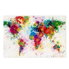 World Map Paint Splashes Postcards (Package of 8)