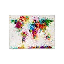 World Map Paint Splashes 5'x7'Area Rug