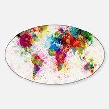 World Map Paint Splashes Bumper Stickers