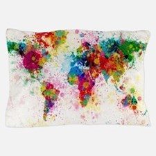 World Map Paint Splashes Pillow Case