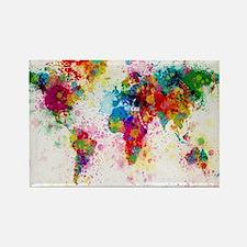 World Map Paint Splashes Rectangle Magnet