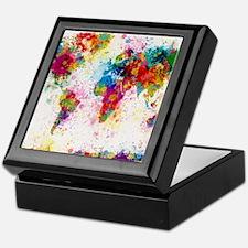World Map Paint Splashes Keepsake Box