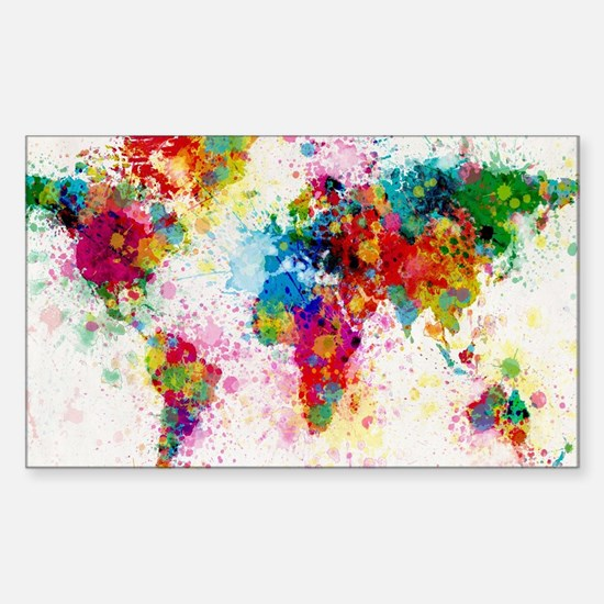 World Map Paint Splashes Sticker (Rectangle)