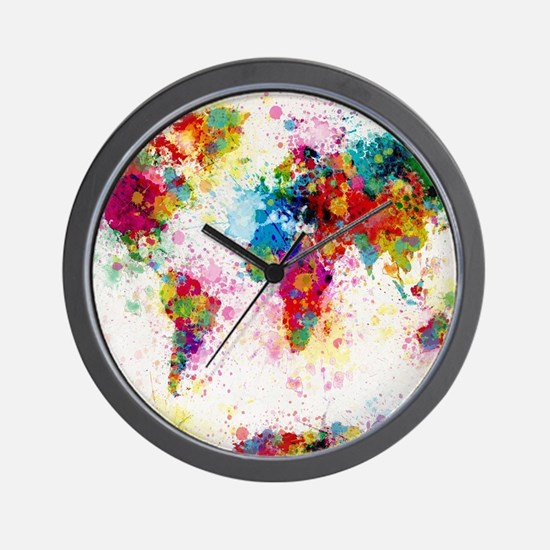 World Map Paint Splashes Wall Clock