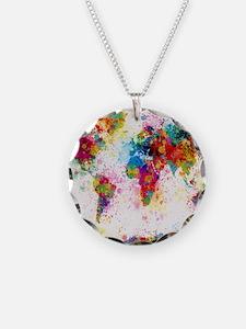World Map Paint Splashes Necklace