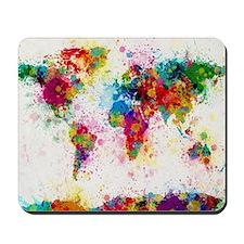 World Map Paint Splashes Mousepad