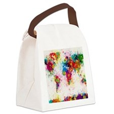 World Map Paint Splashes Canvas Lunch Bag