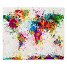 World Map Paint Splashes King Duvet