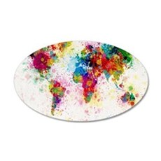 World Map Paint Splashes Wall Decal