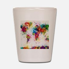 World Map Paint Splashes Shot Glass