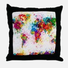 World Map Paint Splashes Throw Pillow