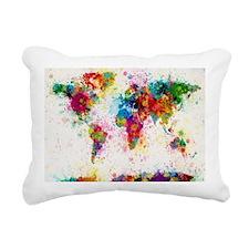 World Map Paint Splashes Rectangular Canvas Pillow