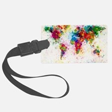 World Map Paint Splashes Luggage Tag